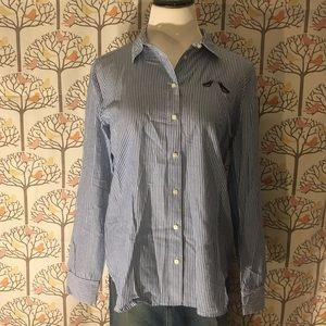 LOFT Striped Button-down with Embroidered Birds